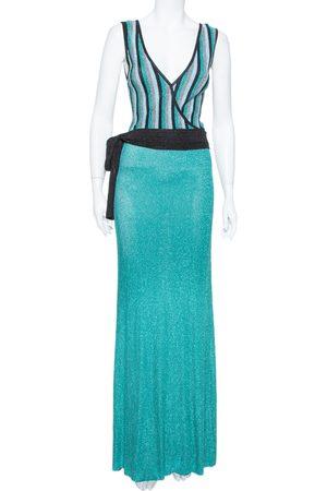 Roberto Cavalli Sea Blue Lurex Knit Contrast Striped Belted Maxi Dress M