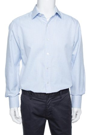 Tom Ford White & Blue Checkered Cotton Su Misura Long Sleeve Shirt XXL