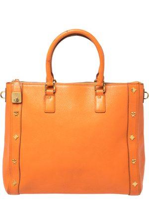 MCM Orange Textured Leather Large Tote