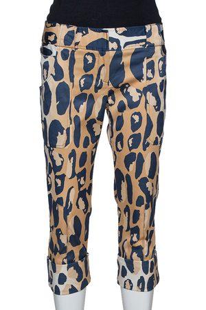 Diane von Furstenberg Beige Animal Print Silk Ewan Capri Pants M