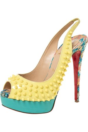 Christian Louboutin Multicolor Patent, Leather And Python Lady Peep Toe Platform Slingback Sandals Size 38.5