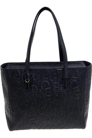 Salvatore Ferragamo Black Embossed Logo Leather Bonnie Shopper Tote