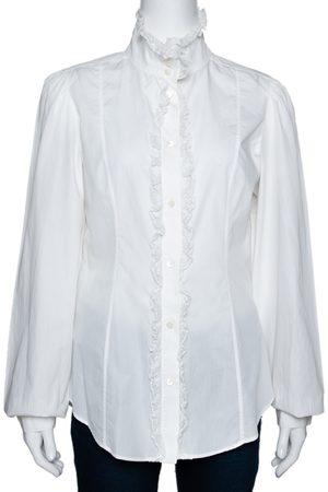 Dolce & Gabbana White Cotton Ruffled Lace Trim Shirt L