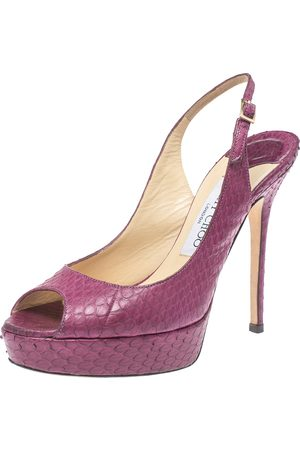 Jimmy Choo Burgundy Python Embossed Leather Peep Toe Slingback Platform Sandals Size 36.5