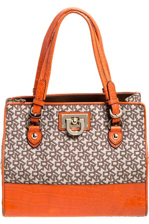 DKNY Orange Croc Embossed Leather and Beige Signature Canvas Tote