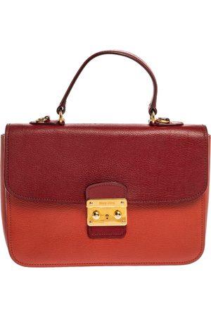 Miu Miu Orange/Red Madras Leather Push Lock Flap Top Handle Bag