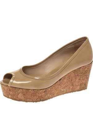 Jimmy Choo Nude Patent Parley Cork Wedge Pumps Size 37.5