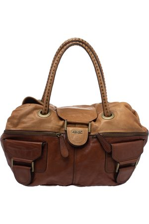 Kenzo Two Tone Brown Soft Leather Studded Handle Satchel