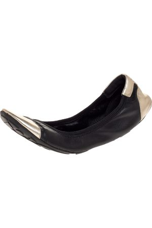 Prada Black/Silver Leather Scrunch Ballet Flats Size 38.5