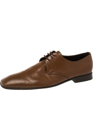 Prada Brown Leather Lace Up Oxfords Size 41.5