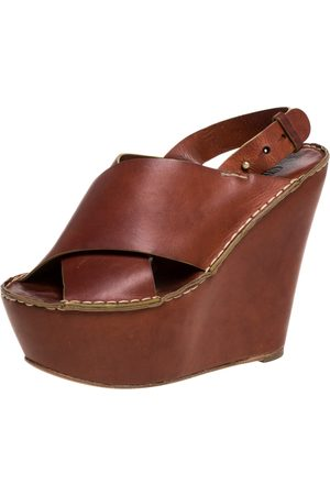Chloé Brown Leather Criss Cross Platform Wedge Sandals Size 38