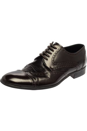 Dolce & Gabbana Dark Brown Leather Brogue Lace Up Derby Size 45