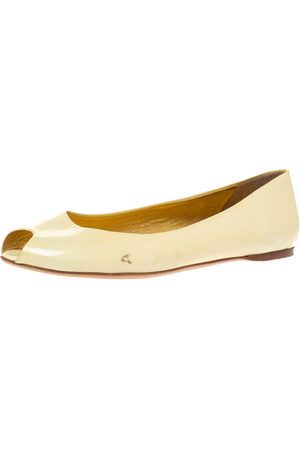Prada Yellow Patent Leather Peep Toe Ballet Flats Size 41.5