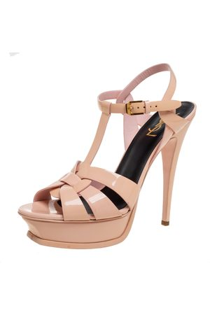 Saint Laurent Beige Patent Leather Tribute Platform Sandals Size 40