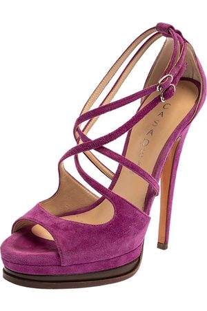 Casadei Purple Suede Cross Strap Platform Sandals Size 36
