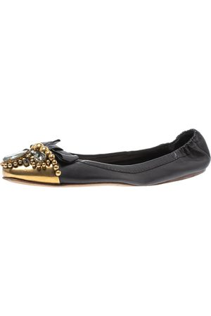 Miu Miu Black Leather Crystal, Bead And Bow Embellished Cap Toe Ballet Flats Size 40