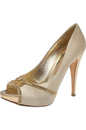 Gina Beige Satin Crystal Embellished Peep Toe Pumps Size 40