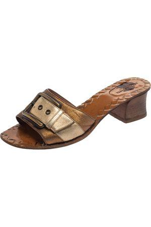 Bottega Veneta Metallic Block Heel Slide Sandals Size 38