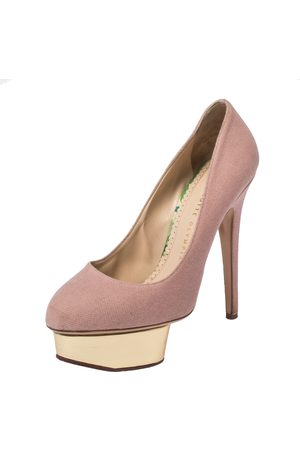 Charlotte Olympia Pink Canvas Dolly Platform Pumps Size 38