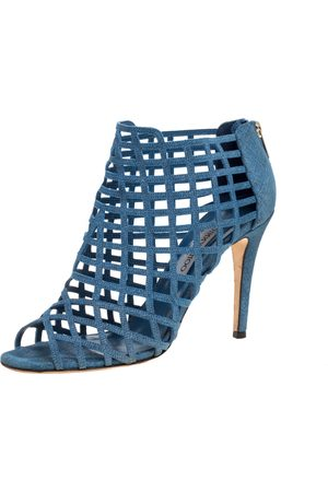 Jimmy Choo Blue Denim Dassa Peep Toe Cage Ankle Boots Size 41