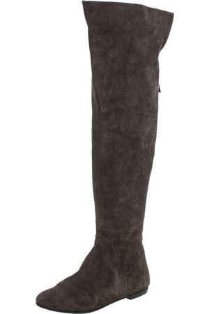 Giuseppe Zanotti Grey Suede Knee Length Boots Size 40