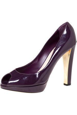 Dior Purple Patent Leather Platform Peep Toe Pumps Size 39