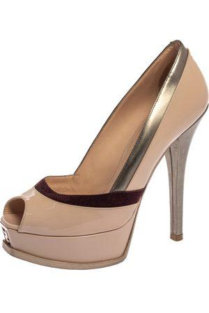 Fendi Tri Color Patent Leather and Suede sta Peep Toe Platform Pumps Size 39