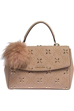 Michael Kors Pink Studded Leather Medium Ava Top Handle Bag