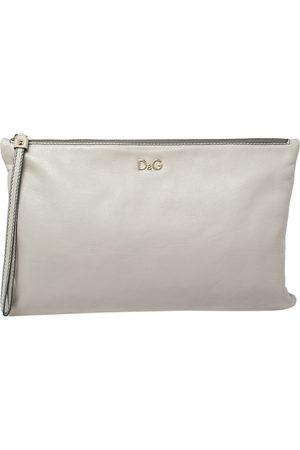 DandG Grey Leather Ania Wristlet Clutch