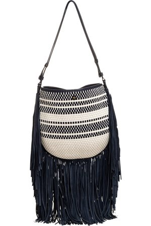 Tory Burch Blue/White Woven Leather and Fabric Fringe Hobo