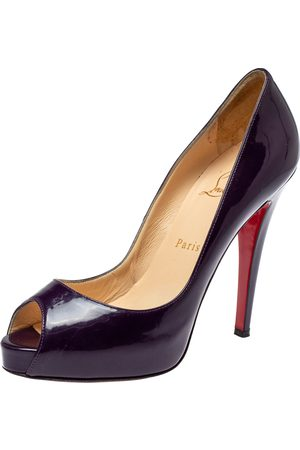 Christian Louboutin Purple Patent Leather Lady Peep Toe Platform Pumps Size 38
