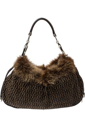 Aigner Brown Signature Canvas,Leather and Faux Fur Logo Handle Hobo