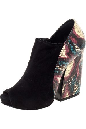 Pierre Hardy Black Suede And Multicolor Snakeskin Block Heel Peep Toe Ankle Booties Size 36