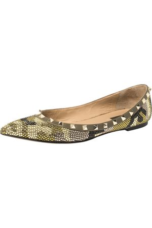 VALENTINO Multicolor Crystal Embellished Suede Leather Rockstud Pointed Toe Flats Size 40