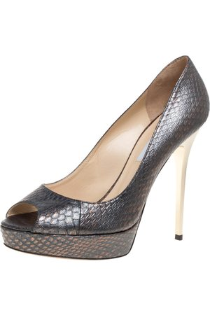 Jimmy Choo Metallic Grey Python Embossed Leather Dahlia Platform Peep Toe Pumps Size 40