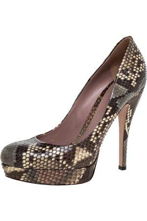Gucci Multicolor Python Leather 'Lisbeth' Platform Pumps Size 38