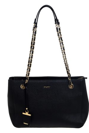 DKNY Black Leather Chain Tote