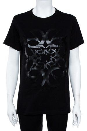 Elie saab Black Cotton Jersey Logo Embossed T-Shirt S
