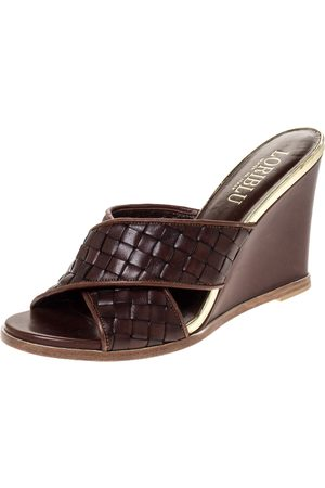 LORIBLU Brown/Gold Woven Criss Cross Leather Wedge Sandals Size 38