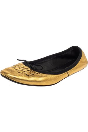 Bottega Veneta Gold Leather Ballet Flats Size 39