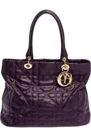 Dior Purple Cannage Quilted Coated Canvas and Leather Lady Tote