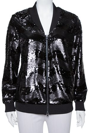 Emporio Armani Black Synthetic Sequin Embellished Bomber Jacket M