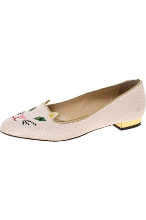 Charlotte Olympia Beige Embroidered Canvas Emoticat Cheeky Kitty Ballet Flats Size 40