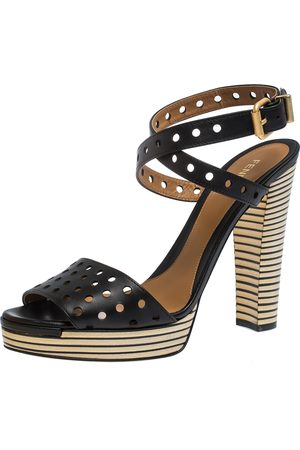 Fendi Black Perforated Ankle Strap Platform Sandals Size 40