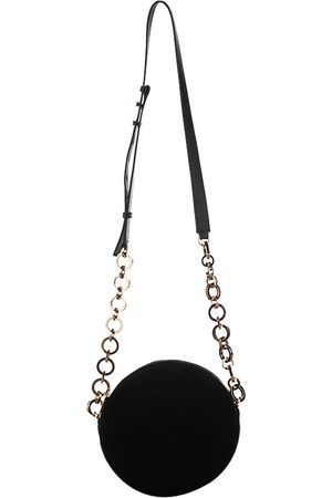 Balmain Black Velvet Round Disco Velour Mini Crossbody Bag