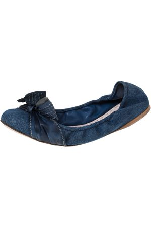 Miu Miu Blue Denim And Leather Bow Scrunch Ballet Flats Size 41