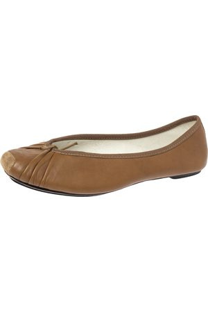Repetto Brown Pleated Leather Bow Square Toe Ballet Flats Size 39