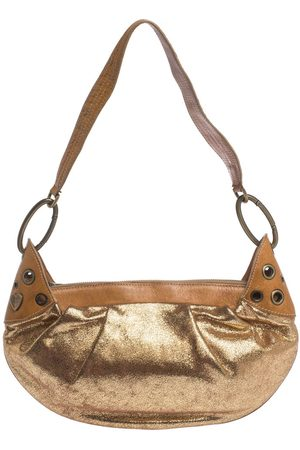Moschino Gold Iridescent Leather Shoulder Bag