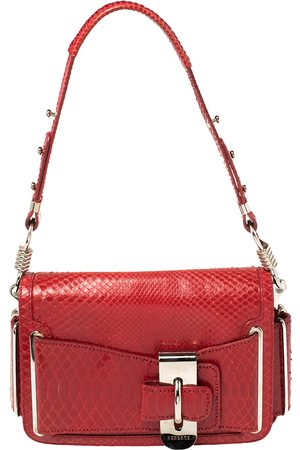 VERSACE Red Python and Suede Flap Shoulder Bag