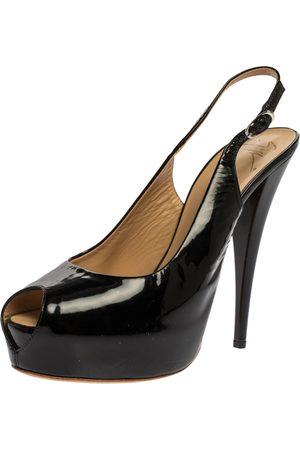 Giuseppe Zanotti Black Patent Leather Peep Toe Slingback Platform Sandals Size 41